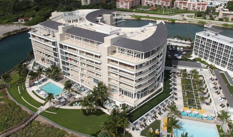Aerial View of One Thousand Ocean, Luxury Oceanfront Condominiums Located at 1000 S Ocean Blvd, Boca Raton, FL 33432