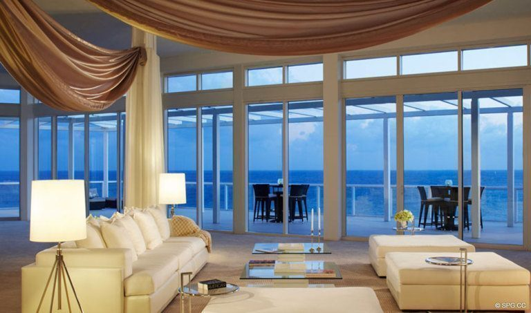 One Thousand Ocean Living Room, Luxury Oceanfront Condominiums Located at 1000 S Ocean Blvd, Boca Raton, FL 33432