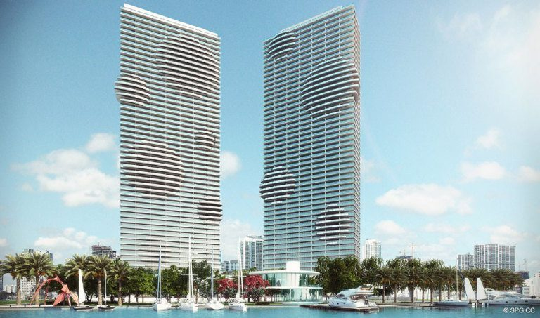 View of Paraiso Bay, Luxury Waterfront Condominiums Located at 600 NE 31st St, Miami, FL 33137