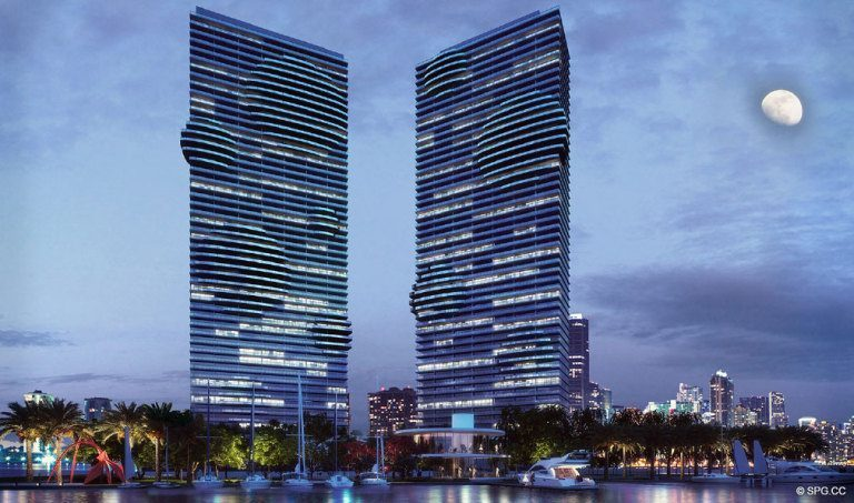 Paraiso Bay at Night, Luxury Waterfront Condominiums Located at 600 NE 31st St, Miami, FL 33137