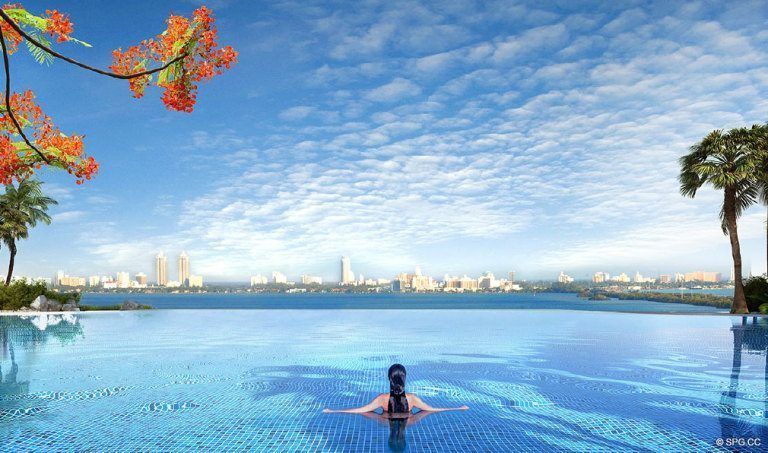 Paraiso Bay Pool, Luxury Waterfront Condominiums Located at 600 NE 31st St, Miami, FL 33137