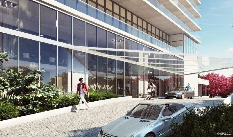 Paraiso Bay Entrance, Luxury Waterfront Condominiums Located at 600 NE 31st St, Miami, FL 33137