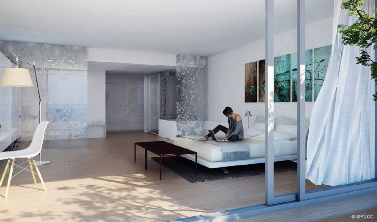 Paraiso Bay Bedroom, Luxury Waterfront Condominiums Located at 600 NE 31st St, Miami, FL 33137