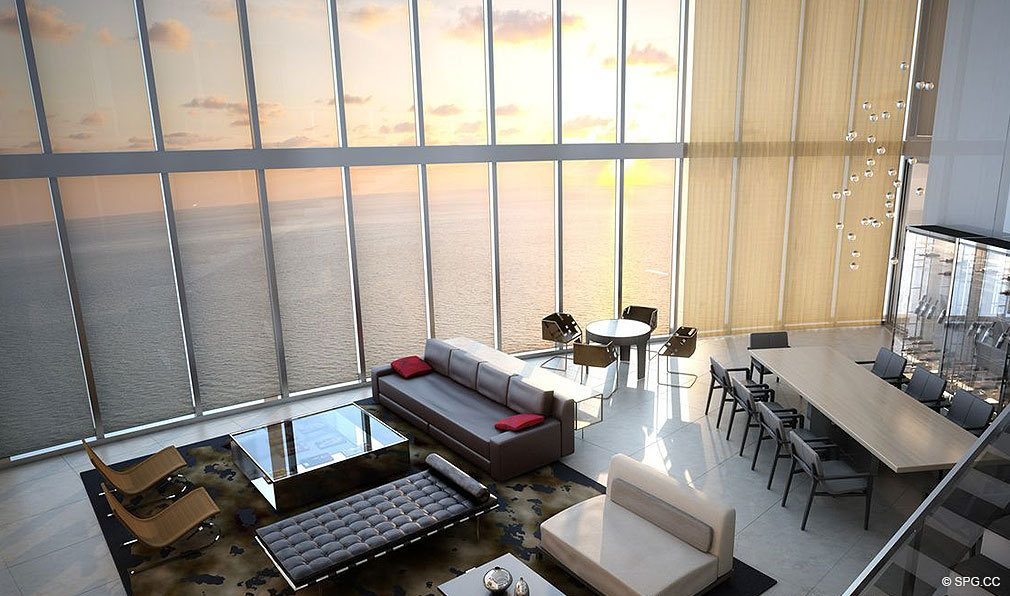 Porsche Design Tower Miami Living Room Concept, Luxury Oceanfront Condominiums Located at 18555 Collins Ave, Sunny Isles Beach, FL 33160