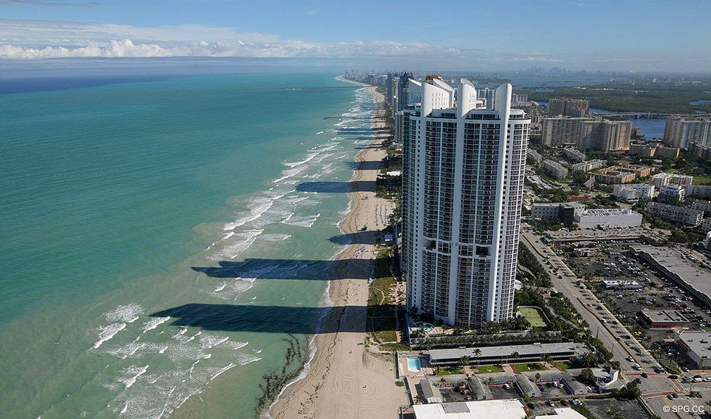 Ocean Views from Porsche Design Tower Miami, Luxury Oceanfront Condominiums Located at 18555 Collins Ave, Sunny Isles Beach, FL 33160