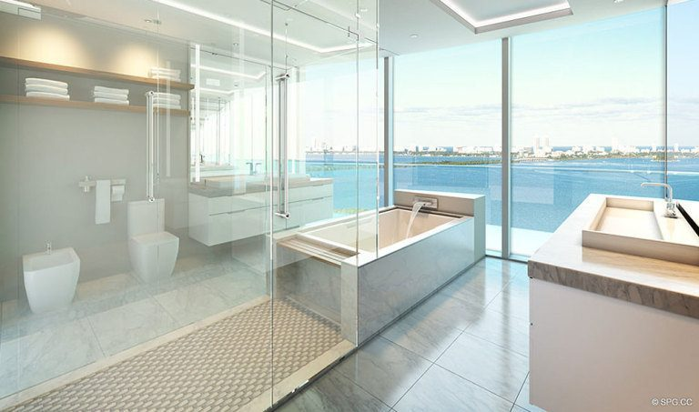 Bathroom at Aria on the Bay, Luxury Waterfront Condominiums Located at 1770 North Bayshore Drive, Miami, FL 33132