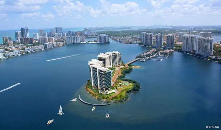 Aerial View of Prive, Luxury Waterfront Condominiums Located at 5000 Island Estates Blvd, Aventura, FL 33160