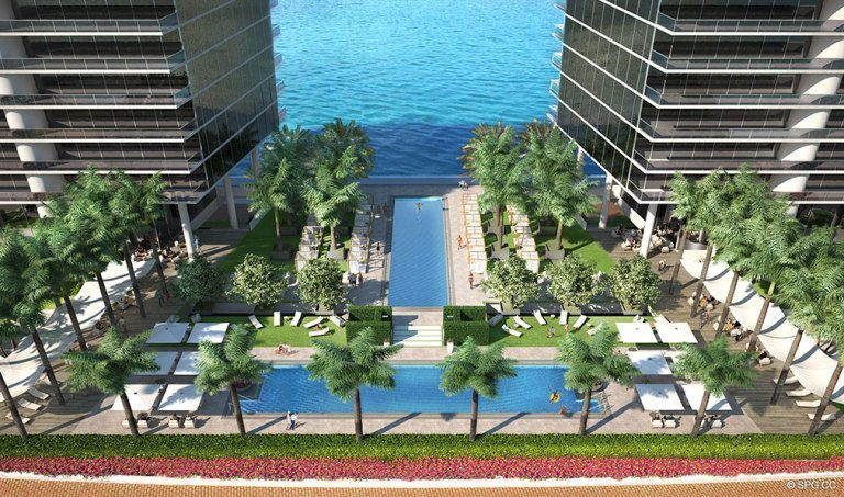 Pools at Prive, Luxury Waterfront Condominiums Located at 5000 Island Estates Blvd, Aventura, FL 33160
