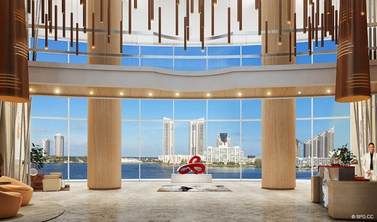 Prive Lobby, Luxury Waterfront Condominiums Located at 5000 Island Estates Blvd, Aventura, FL 33160