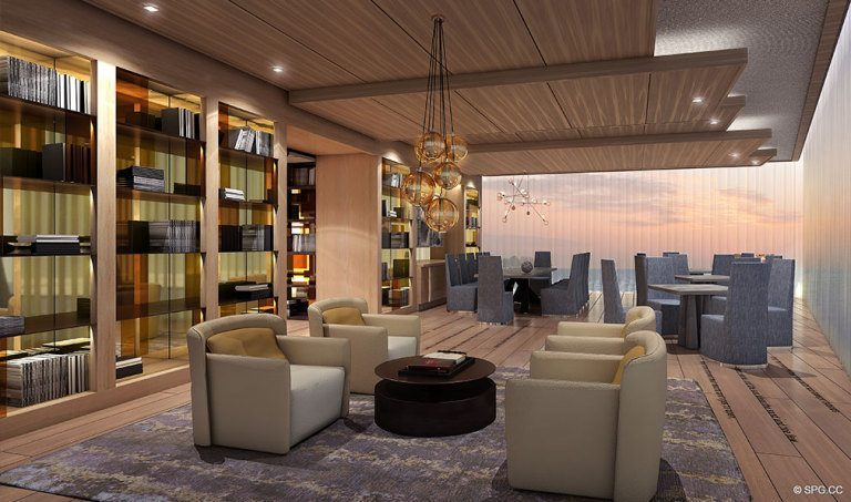 Prive Library, Luxury Waterfront Condominiums Located at 5000 Island Estates Blvd, Aventura, FL 33160