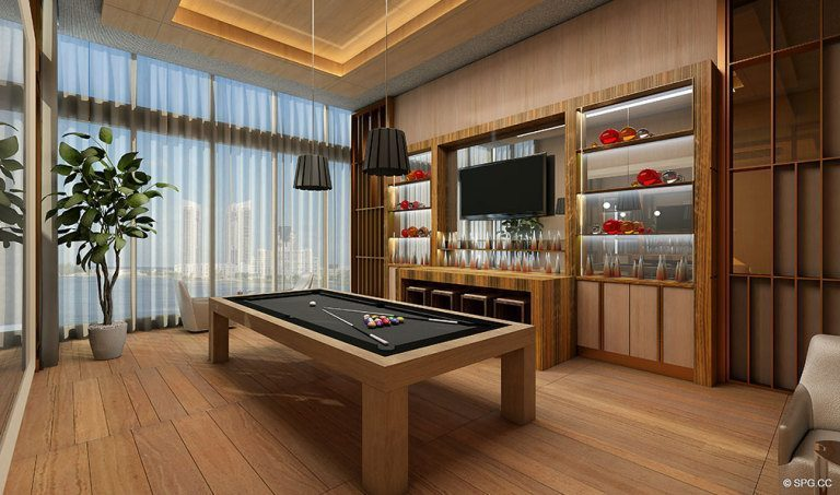 Prive Billiard Room, Luxury Waterfront Condominiums Located at 5000 Island Estates Blvd, Aventura, FL 33160