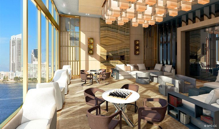 Prive Social Room, Luxury Waterfront Condominiums Located at 5000 Island Estates Blvd, Aventura, FL 33160