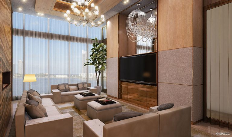 Media Room at Prive, Luxury Waterfront Condominiums Located at 5000 Island Estates Blvd, Aventura, FL 33160