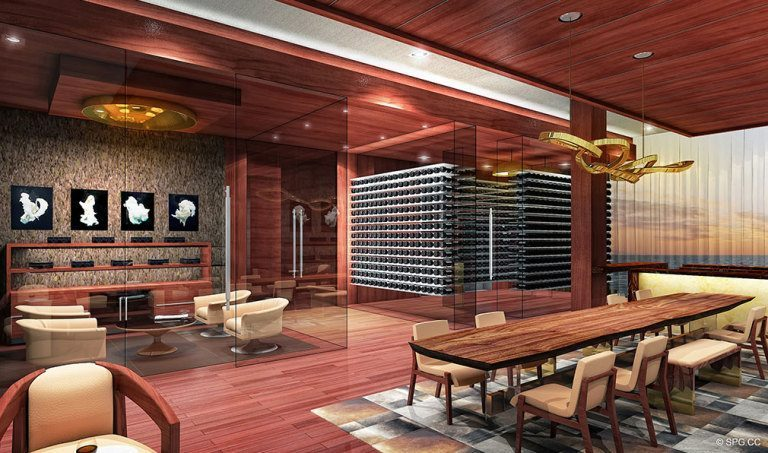 Cigar and Wine Lounge at Prive, Luxury Waterfront Condominiums Located at 5000 Island Estates Blvd, Aventura, FL 33160