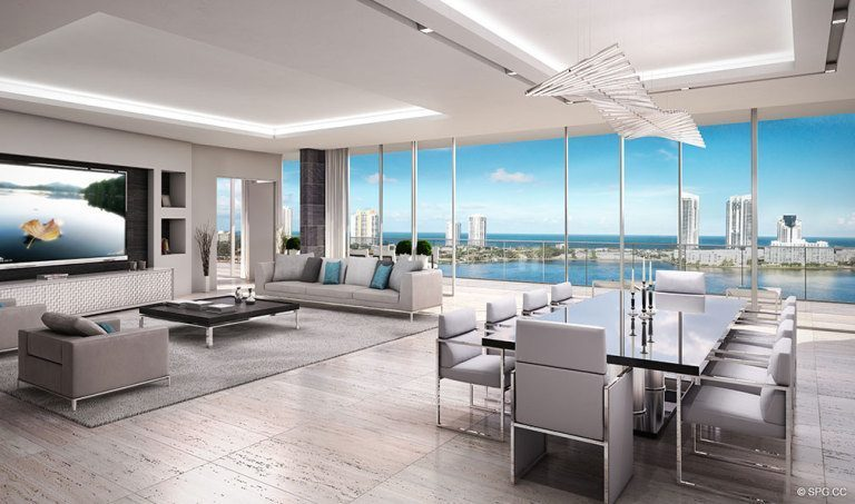 Prive Living Room, Luxury Waterfront Condominiums Located at 5000 Island Estates Blvd, Aventura, FL 33160