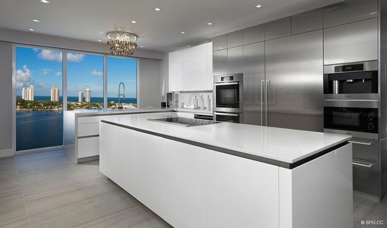 Kitchen at Prive, Luxury Waterfront Condominiums Located at 5000 Island Estates Blvd, Aventura, FL 33160