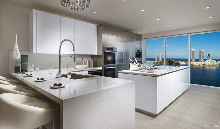 Prive Gourmet Kitchen, Luxury Waterfront Condominiums Located at 5000 Island Estates Blvd, Aventura, FL 33160