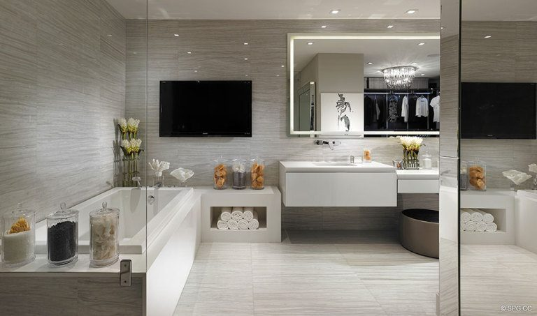 Bathroom at Prive, Luxury Waterfront Condominiums Located at 5000 Island Estates Blvd, Aventura, FL 33160