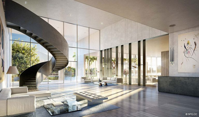 Ritz-Carlton Residences Lobby, Luxury Waterfront Condominiums Located at 4701 N Meridian Ave, Miami Beach, FL 33140