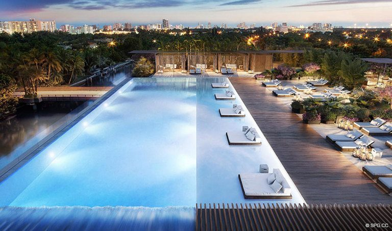 Pool Deck at Ritz-Carlton Residences, Luxury Waterfront Condominiums Located at 4701 N Meridian Ave, Miami Beach, FL 33140