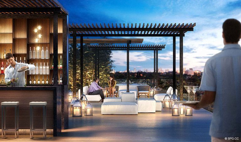 Ritz-Carlton Residences Pool Bar, Luxury Waterfront Condominiums Located at 4701 N Meridian Ave, Miami Beach, FL 33140