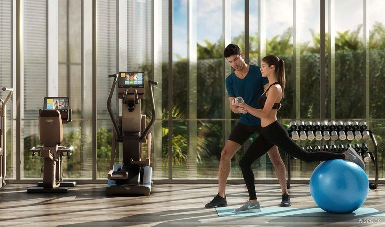 Ritz-Carlton Residences Fitness Center, Luxury Waterfront Condominiums Located at 4701 N Meridian Ave, Miami Beach, FL 33140