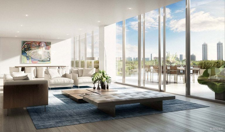 Ritz-Carlton Residences Living Room, Luxury Waterfront Condominiums Located at 4701 N Meridian Ave, Miami Beach, FL 33140