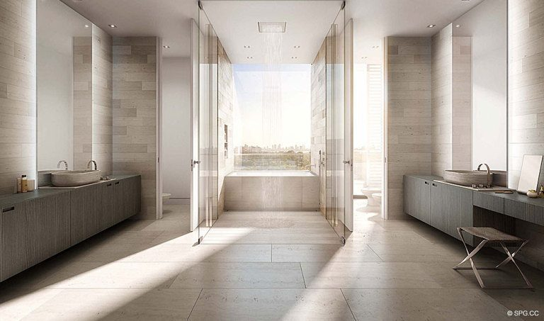 Master Bath at Ritz-Carlton Residences, Luxury Waterfront Condominiums Located at 4701 N Meridian Ave, Miami Beach, FL 33140