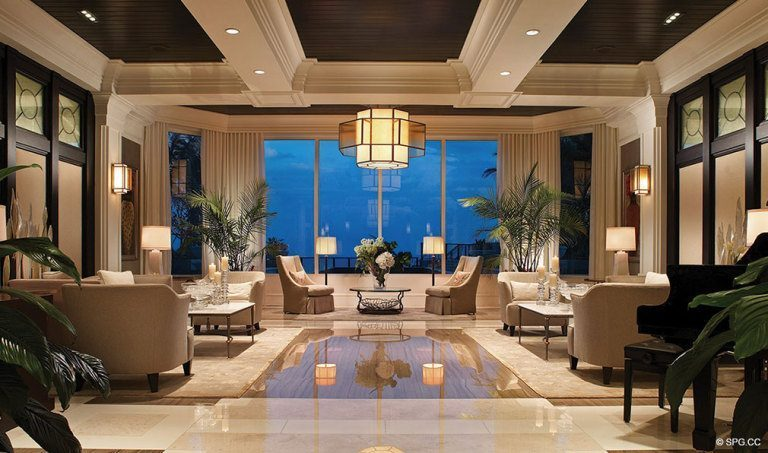Ritz-Carlton Residences Lobby, Luxury Oceanfront Condominiums Located at 2700 N Ocean Dr, Palm Beach, FL 33404