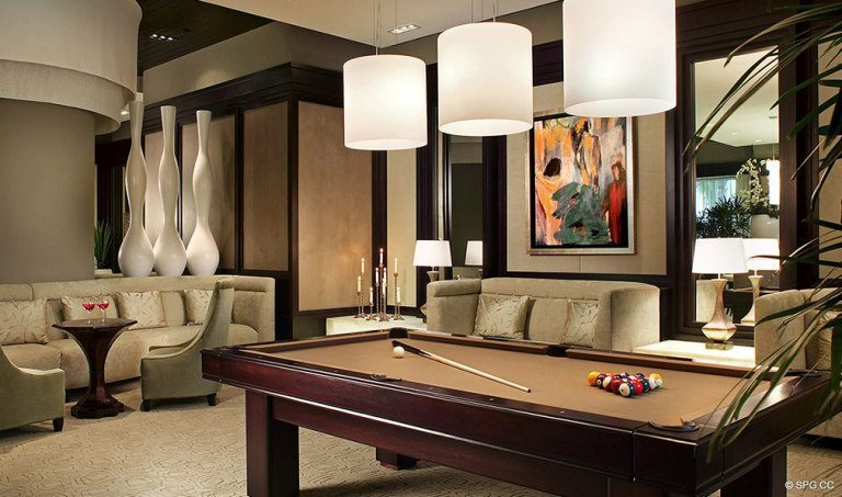Ritz-Carlton Residences Billiard Room, Luxury Oceanfront Condominiums Located at 2700 N Ocean Dr, Palm Beach, FL 33404