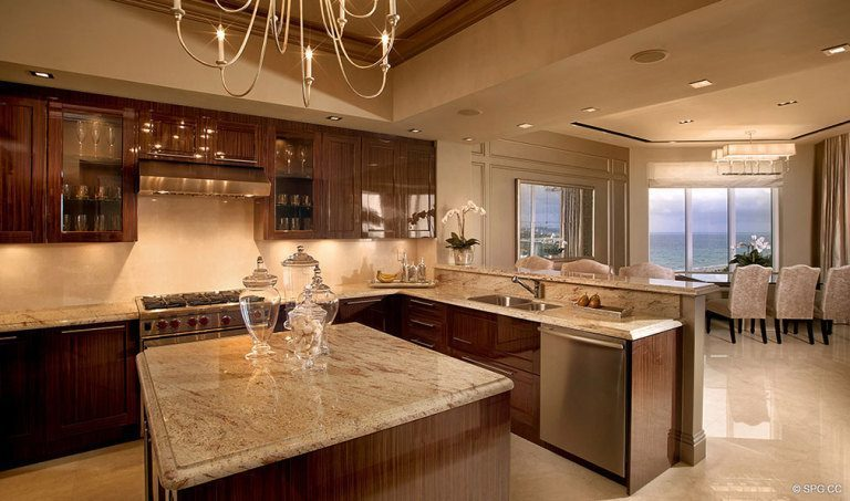 Gourmet Kitchen at Ritz-Carlton Residences, Luxury Oceanfront Condominiums Located at 2700 N Ocean Dr, Palm Beach, FL 33404
