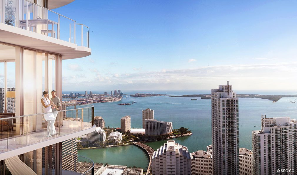 View from SLS Lux Brickell, Luxury Seaside Condominiums Located at 801 S Miami Ave, Miami, FL 33130