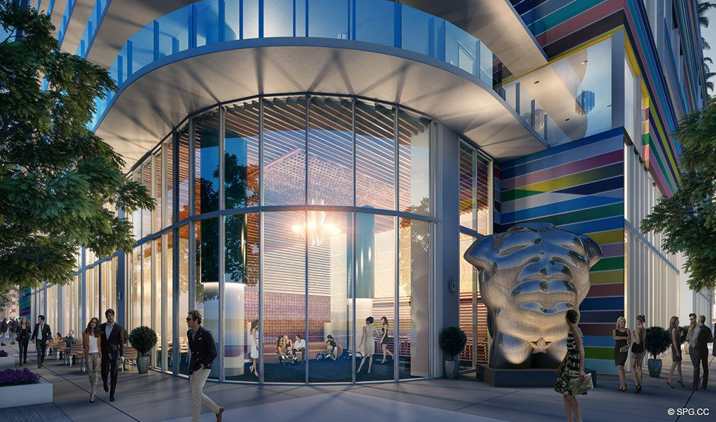 SLS Lux Brickell Street Entrance, Luxury Seaside Condominiums Located at 801 S Miami Ave, Miami, FL 33130