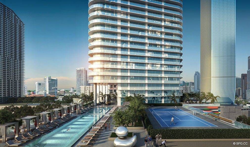 SLS Lux Brickell Pool Deck, Luxury Seaside Condominiums Located at 801 S Miami Ave, Miami, FL 33130