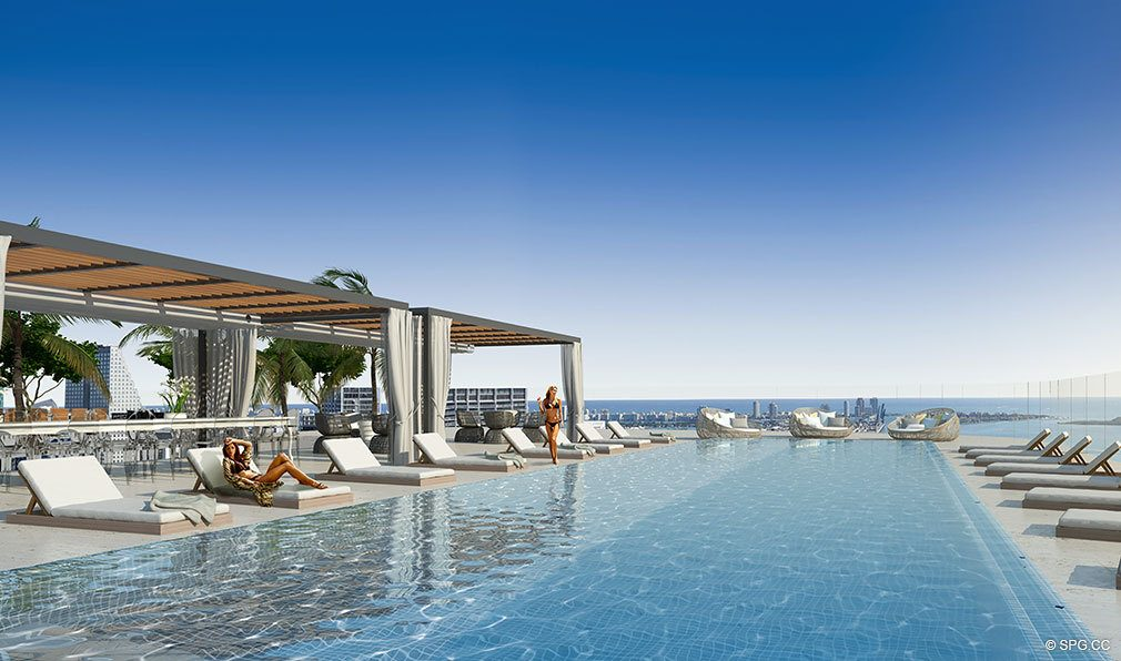 Pool at SLS Lux Brickell, Luxury Seaside Condominiums Located at 801 S Miami Ave, Miami, FL 33130