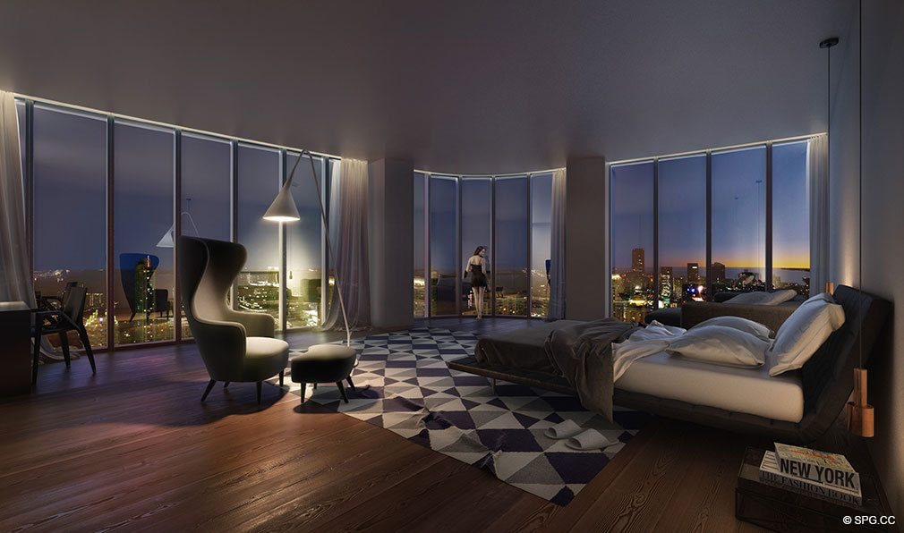 SLS Lux Brickell Bedroom, Luxury Seaside Condominiums Located at 801 S Miami Ave, Miami, FL 33130