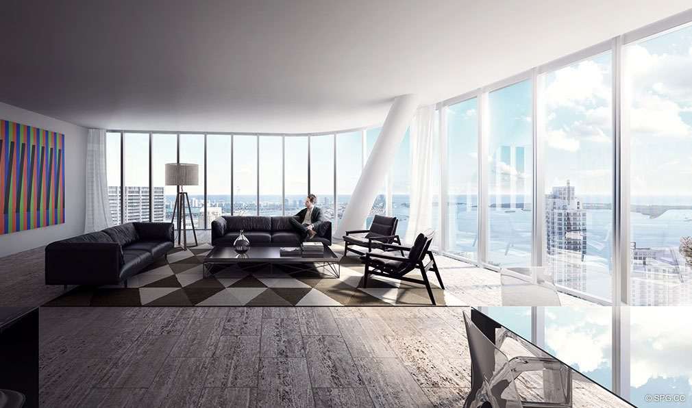 SLS Lux Brickell Living Room, Luxury Seaside Condominiums Located at 801 S Miami Ave, Miami, FL 33130