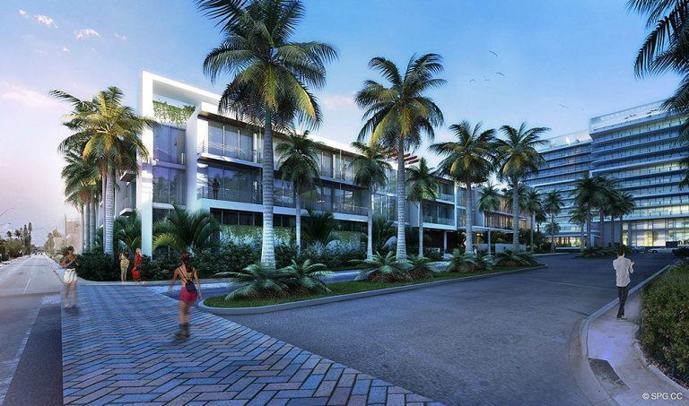 Surf Club Entrance, Luxury Oceanfront Condominiums Located at 9011 Collins Ave Surfside, FL 33154