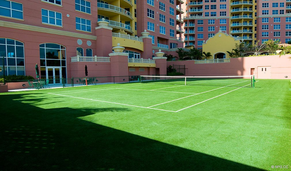 Tennis Court at Palms, Luxury Oceanfront Condominiums Located at 2100-2110 N Ocean Blvd, Ft Lauderdale, FL 33305