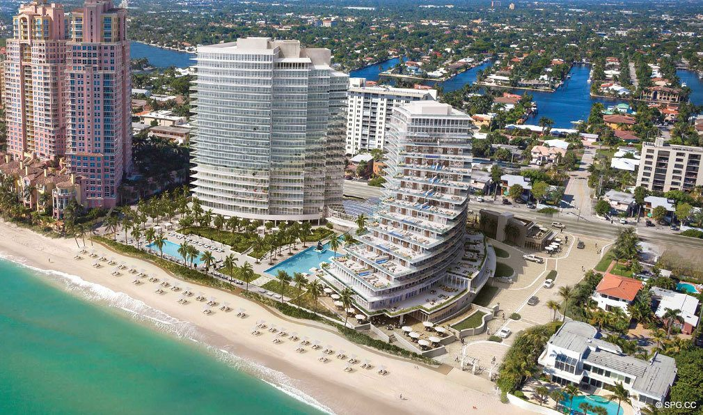 New Construction Aerial Rendering for Auberge Beach Residences, Luxury Oceanfront Condos in Ft Lauderdale