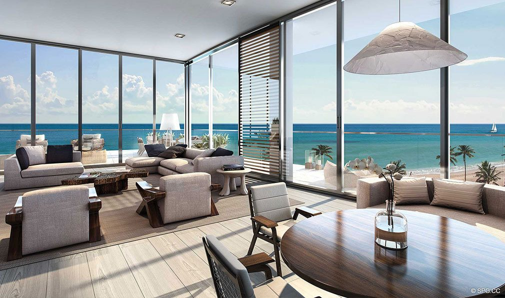 Living Room Design for Auberge Beach Residences, Luxury Oceanfront Condos in Ft Lauderdale