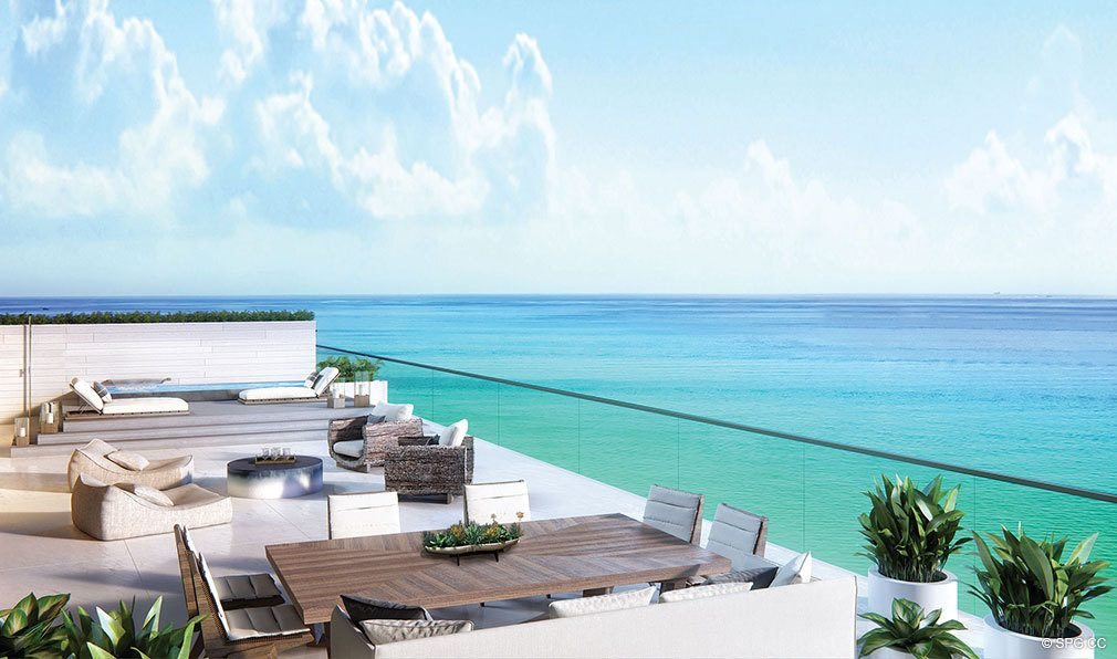 Oceanfront Terrace Design for Auberge Beach Residences, Luxury Oceanfront Condos in Ft Lauderdale
