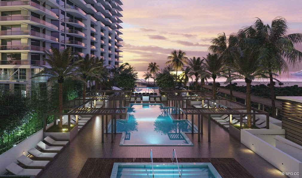 Sunset Pool Decks at Amrit Ocean Resort and Residences, Luxury Oceanfront Condos on Singer Island, Florida