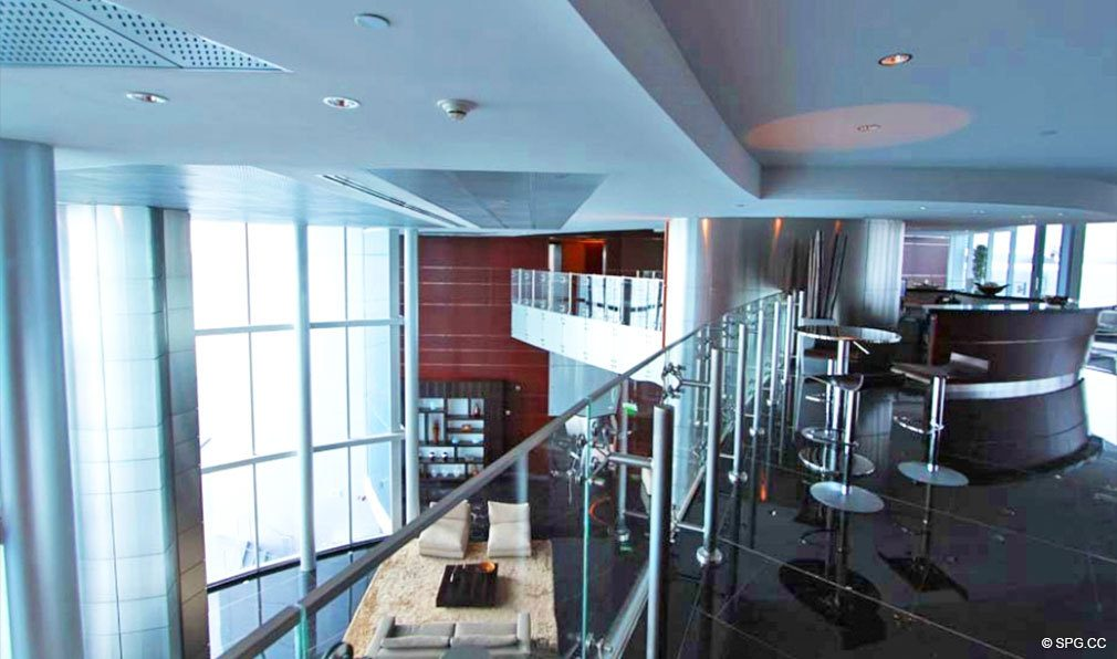 Upper Lobby Area at Jade Beach, Luxury Oceanfront Condominiums Located at 17001 Collins Ave, Sunny Isles Beach, FL 33160