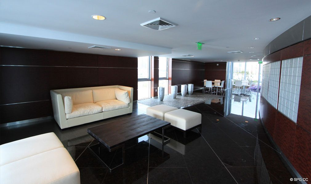 Modern Lobby Design at Jade Beach, Luxury Oceanfront Condominiums Located at 17001 Collins Ave, Sunny Isles Beach, FL 33160