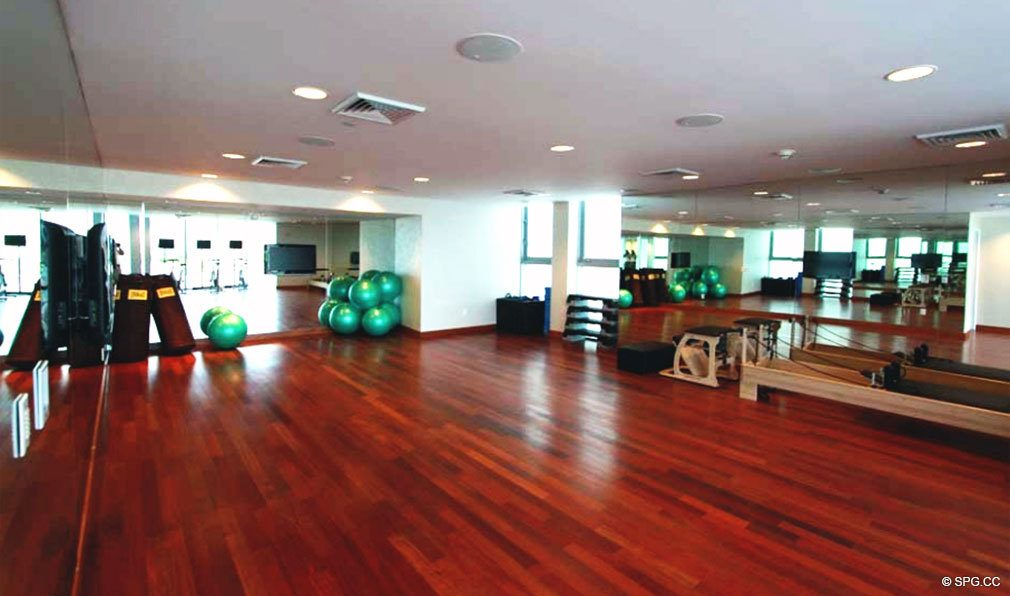 Exercise Room at Jade Beach, Luxury Oceanfront Condominiums Located at 17001 Collins Ave, Sunny Isles Beach, FL 33160