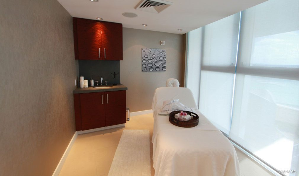 Spa Treatment Room at Jade Beach, Luxury Oceanfront Condominiums Located at 17001 Collins Ave, Sunny Isles Beach, FL 33160