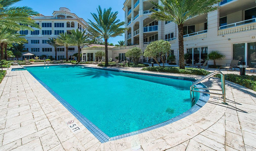 Pool Deck at Bellaria, Luxury Oceanfront Condominiums Located at 3000 South Ocean Blvd, Palm Beach, FL 33480