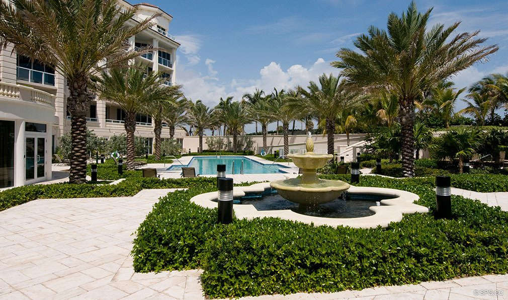 Landscaped Pool Deck at Bellaria, Luxury Oceanfront Condominiums Located at 3000 South Ocean Blvd, Palm Beach, FL 33480