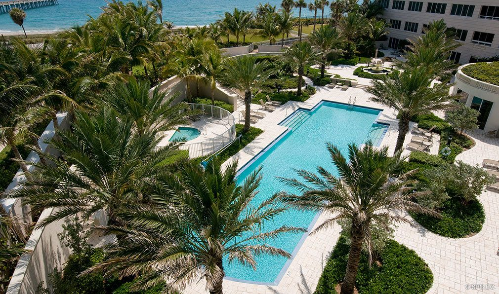 Beautiful Pool at Bellaria, Luxury Oceanfront Condominiums Located at 3000 South Ocean Blvd, Palm Beach, FL 33480